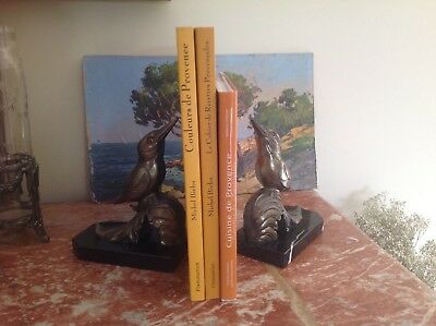Art Deco patinated bronze booksends with woodpeckers signed Franjou