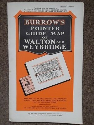 WALTON and WEYBRIDGE Pointer Guide Map - Vintage SURREY Burrow's Street Map