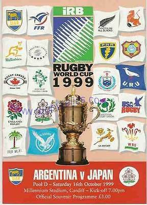 ARGENTINA v JAPAN 1999 RUGBY WORLD CUP PROGRAMME, RWC, 16 October, Cardiff
