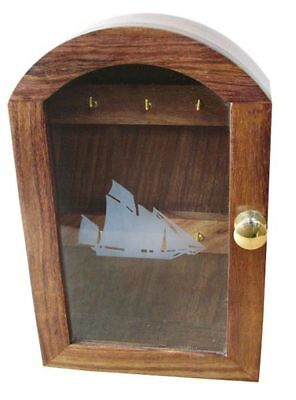G4605: Boots Marine Key Box with Glass Front and Schiffsmotiv Fine Wood