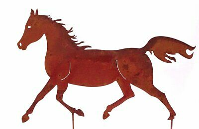 G2136: Patina Horse, Garden Decoration Proud Horse to Stick in the Ground,