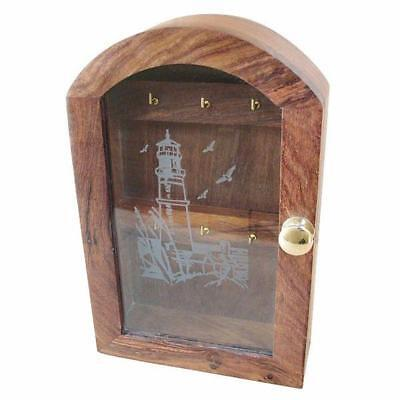 G4606: Nostalgia Key Box, Glass Front with leuchtturmmotiv 6 Hooks Fine Wood