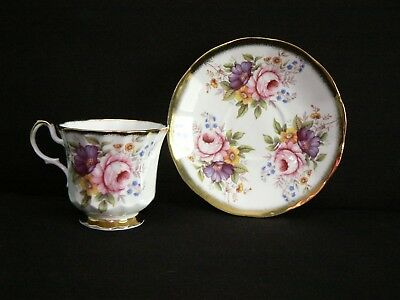 Queens China Collector Tea Cup And Saucer - Ornate Flowers
