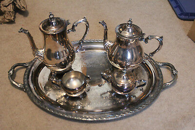 International Silver Company Coffee Tea Service Silver Plate Set Large Tray
