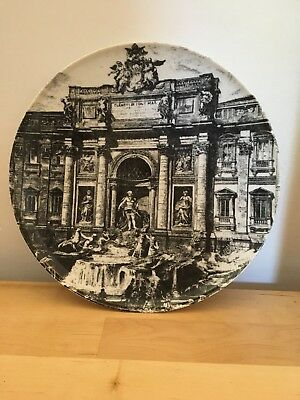 """Trevi Fountain 10"""" Plate In FORNASETTI Manner Made In Italy. Bavaria Porcelain"""