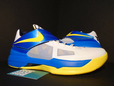 online store 7b179 dd1b3 Nike Zoom KEVIN DURANT KD IV ENTOURAGE WARRIORS MVP WHITE PHOTO BLUE YELLOW  11.5