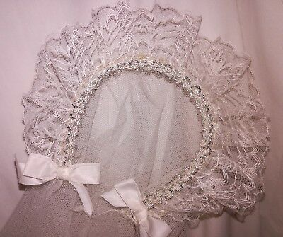 Vintage Christening Baby Veil ~ Clean, Ex. Cond. ~ Long Lace & Headband ~ PRETTY