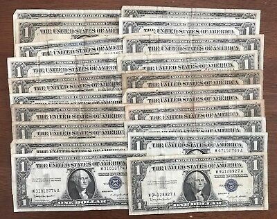 Lot of 20 Circulated 1957 Silver Certificate $1 Dollar Notes - No Reserve