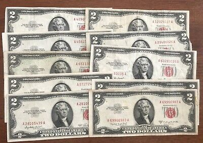 (10) Ten 1953 Circulated $2 United States Notes Red Seal Notes - No Reserve