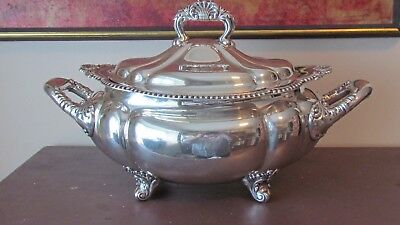 1891 Antique Gorham Silver Plate Tureen 8 Pints Gadroon Edge W/ Shell Design