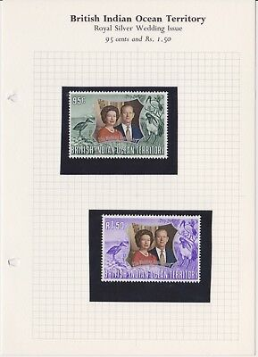 British Indian Ocean Territory 1972 Royal Silver Wedding 95c & 1r50c MNH Stamps