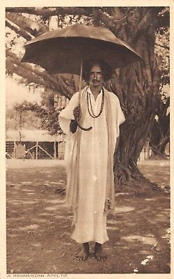 India Ethnic A Mohammedan Ascetic Native Man Holds Open Umbrella Printed Card