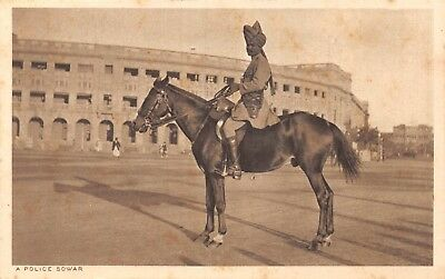 India Ethnic A Police Sowar Native Policeman Poses On Horse Printed Card