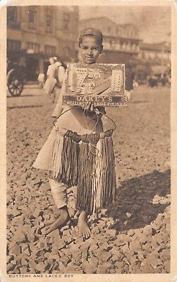 India Ethnic Buttons & Lace Boy Native Boy Holds Tray Of Buttons Printed Card
