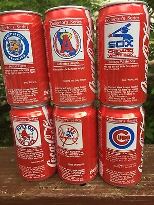 19 diff. COCA COLA MLB BASEBALL CANS-RED SOX,YANKEES,TIGERS,ORIOLES-FRESCA,1986