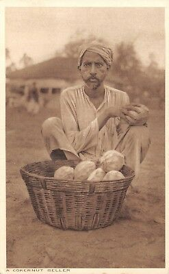 India Ethnic A Cokernut Seller' Man Sits By Basket Of Coconuts Printed Card