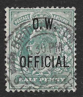 1902 ½d Blue-Green O.W. Official SG O36 (Fine Used)