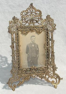 """ORNATE VICTORIAN SMALL DETAILED OPENWORK BRASS EASEL PICTURE FRAME 7.5"""" x 5"""""""