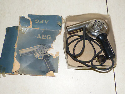 AEG Haartrockner Fön 50er Jahre Chrom Vintage Hair Dryer in Karton