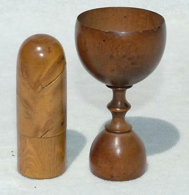 ANTIQUE 18th EARLY 19th CENTURY TURNED WOODEN APOTHECARY DOUBLE ENDED MEASURE +1