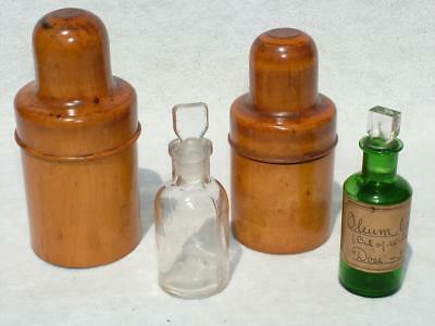 2 x ANTIQUE TREEN WOODEN MEDICAL APOTHECARY BOXWOOD BOTTLE HOLDERS + 2 x BOTTLES