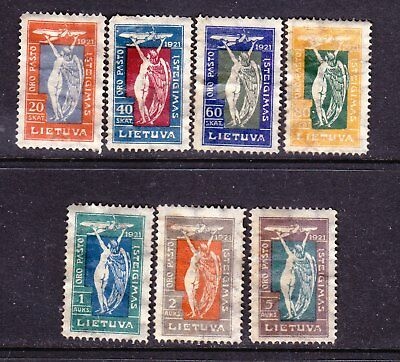Lithuania postage stamps - 1921 Air Mail 7 x MINT Hinged 'set' (Gum Damaged)
