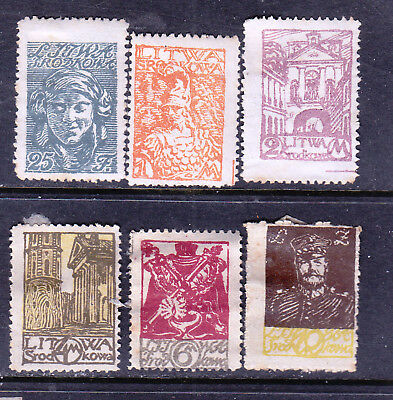 Central Lithuania stamps - 6 x MINT Hinged - Perf. - collecction odds
