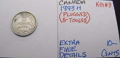 Canada 1883 H Silver 10-Cents! Extra Fine Details! Plugged & Tooled! Key! Km#3