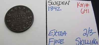 Sweden 1842 2/3-Skilling! Extra Fine! Km# 641! Really Nice Type Coin! Look