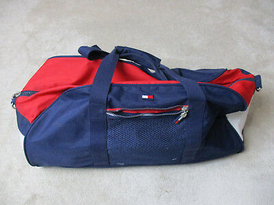 38df131d9a VINTAGE Tommy Hilfiger Duffle Bag Blue Red Spell Out Flag Tote Gym Beach 90s