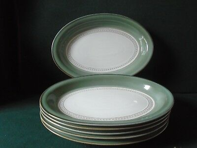 Three Denby Venice Renaissance oval steak plates ( six are available)