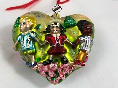 "Christopher Radko Christmas Ornament 2001 ""Celebrate Adoption"" Heart Children*"