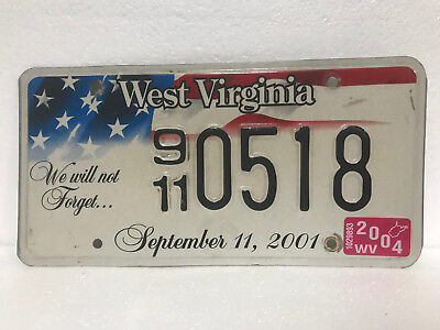 2004 West Virginia license plate - America United We Stand, September 11