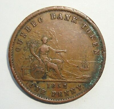 1852 Deux Sous Lower Canada Quebec Bank One Penny Token Coin