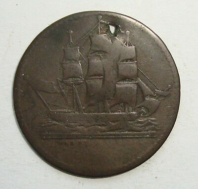 Ships Colonies & Commerce Pei Us Flag Half Penny Token Coin