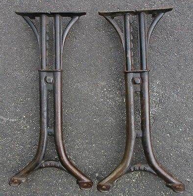 "Pair 1898 ANTIQUE CAST IRON ADJUSTABLE TABLE BENCH LEGS INDUSTRIAL 22"" high"