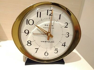Vintage Westclox Big Ben Repeater Alarm Clock Excellent Working WHITE FACE