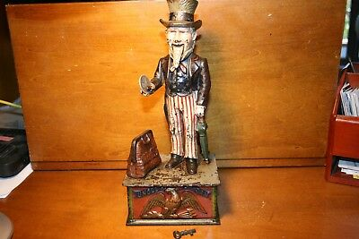 Antique Cast Iron Uncle Sam Mechanical Bank by Shepard Hardware cir.1886 Nice !