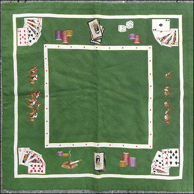 Vintage Needlepoint Table Cover Poker Horse Racing Bridge Gambling Las Vegas