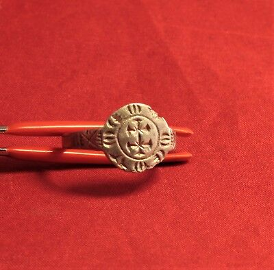 Fine Medieval Templar Knight's Silver Seal Ring - Cross Seal, 12. Century