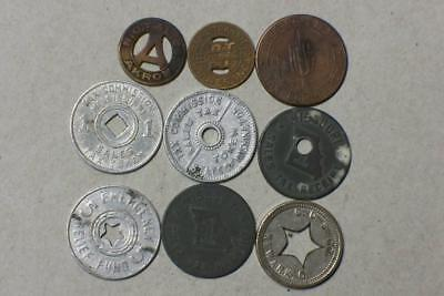 SIX SALES TAX TOKENS TWO TRANSIT TOKENS AND NO CASH VALUE TOKEN #6162 glb