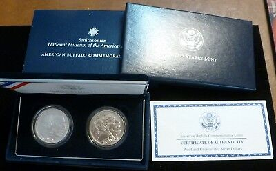 2001 American Buffalo Smithsonian 2 COIN SET Proof & UNCIRCULATED Silver Dollars