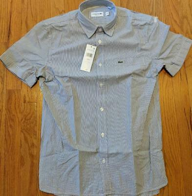 b2e3c5e9 AUTHENTIC LACOSTE GINGHAM Checked Button Up SS Woven Shirt Red/Blue ...