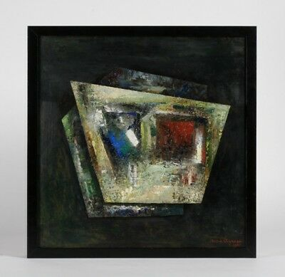 Mid-Century Modern Abstract Painting by Andre Vigneau - French Beat Artist 1960