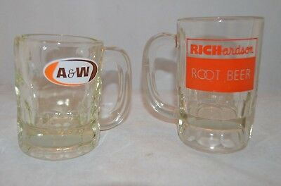 "A&W and RICHardson Root Beer Mugs - 4 3/8"" & 5"" tall"