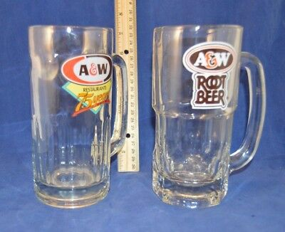 Two Dfferent A&W Root Beer Mugs - Restaurants 75 Years  - 7 inches tall