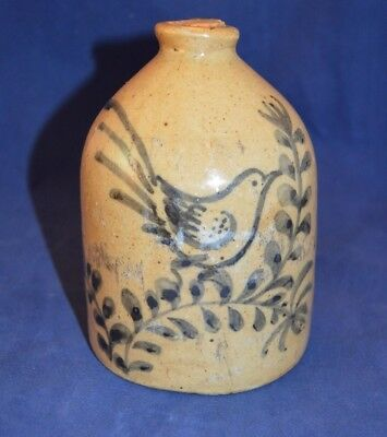 Small Vintage Stoneware Jug with Blue Bird Decoration - 5 1/2 inches