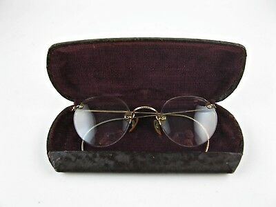 Vintage SHURON ARCO FUL-VUE 12K GF Gold Filled SPECTACLES Round EYE GLASSES CASE