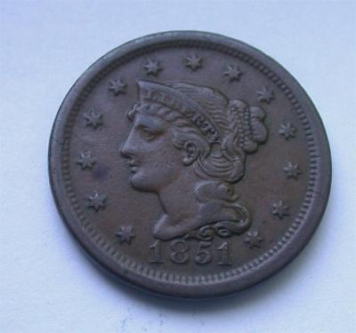 1851 Braided Hair Large One Cent Coin