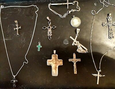 Vintage 925 sterling silver crosses & necklaces rare religious mixed lot nice
